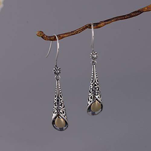 Zhenfa orecchini in argento s925, orecchini in argento temperato alla moda orecchini in argento, incisione vintage, ipoallergenico, con scatola per gioielli, adatto per le donne