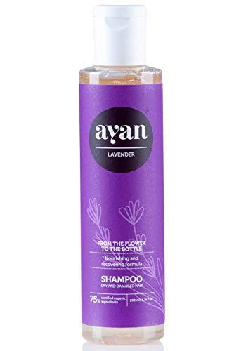 Naturkosmetik Shampoo für Sehr Trockenes und Beschädigtes Haar ✔ Mit BIO Arganöl, Baobab und Lavendelöl ✔ Ohne Silikone, Parabene, Sulfate und Co ✔ AYAN 200ml -