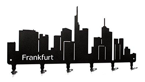 steelprint.de Wandgarderobe - Skyline Frankfurt - Flurgarderobe 58 cm - Hessen - Kleiderhaken, Hakenleiste, Garderobeneiste, Garderobenhalter, Garderobe - Metall, schwarz