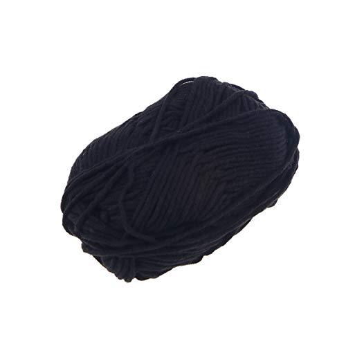Vosarea latte cotone filato di cotone grosso tessuto intrecciato a mano uncinetto filato di lana caldo morbido filato per maglioni cappelli sciarpe diy (nero)