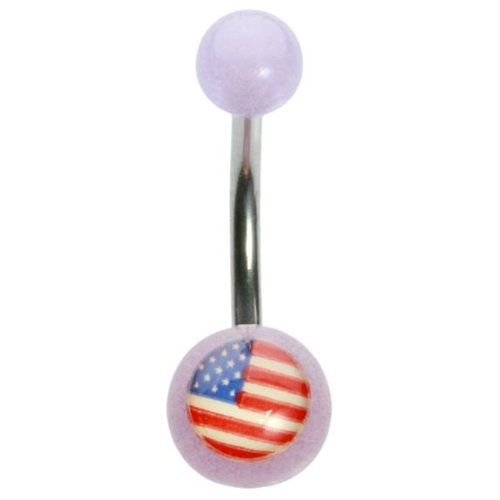 (14 g 3/8 Violett Glow in the Dark UV-American Flagge Curved Barbell)