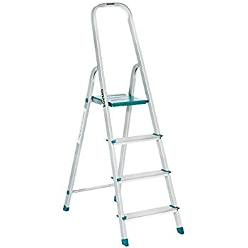 Amazon Brand - Solimo 4-Step Foldable Aluminum Ladder, rust proof and certified by European Standard EN 131
