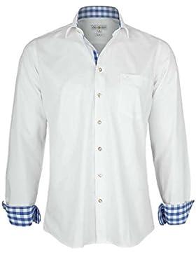 Almsach Herren Hemd Slim Fit Weiß mit Karierten Details Blau, Weiß-Jeans,