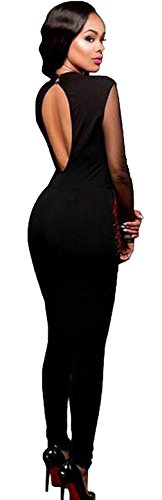 EOZY Femme Romper Motif Col V Combinaison Soirée Jumpsuit Pantalon Rose