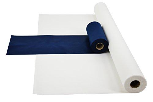 Fachhandel für Vliesstoffe Sensalux Kombi-Set 1 Tischdeckenrolle 1,5m x 25m + Tischläufer 30cm (Farbe nach Wahl) Rolle weiß Tischläufer blau