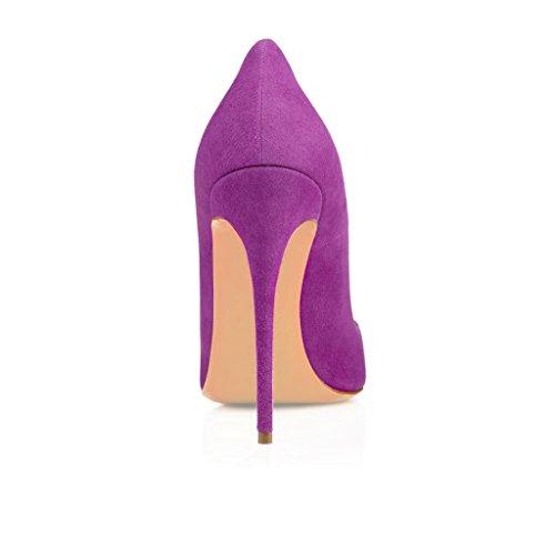 EDEFS Femmes Artisan Fashion Escarpins Délicats Classiques Elégants Pointus Des Couleurs Variées Chaussures à talon de 120mm Bleu Pourpre Suède