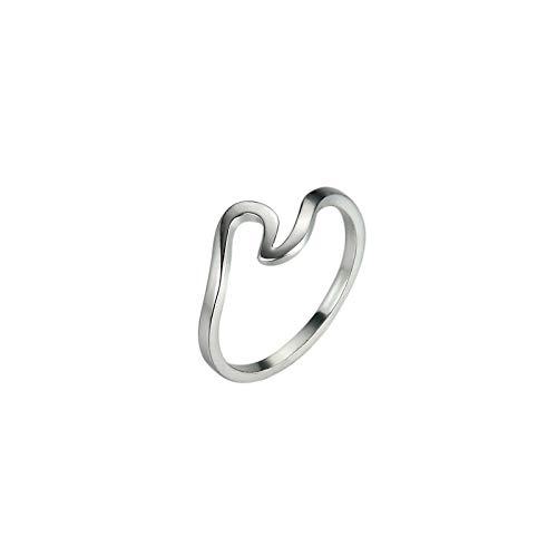 RFV Männer und Frauen auf dem einfachen Ring der Ringwelle kleiden Art- und Weiskupferring,Silber,7
