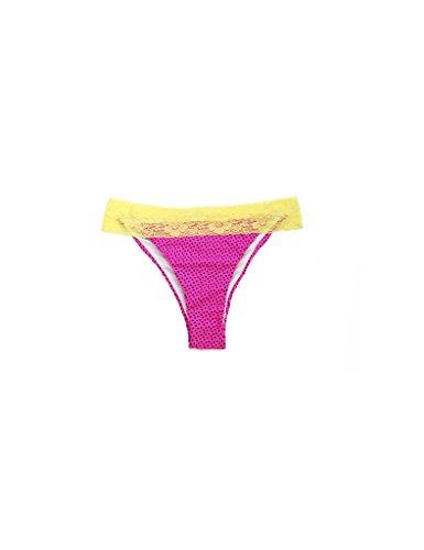 RELLECIGA Damen Bademode Triangel Bikini Unterteil im Brasil Style Luxusspitze Rosa + gelbe Spitze