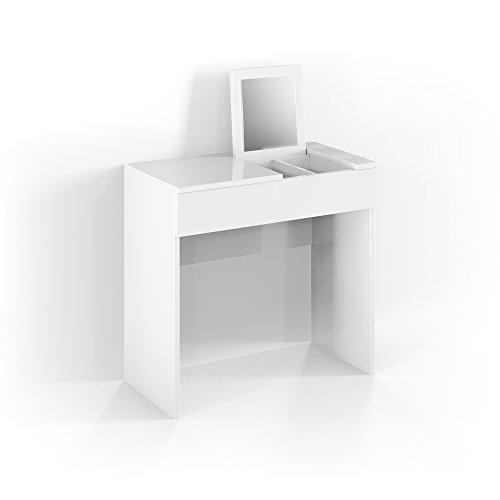 Vicco Schminktisch MIA 77 x 80 cm Weiß - Frisiertisch Kommode Spiegel +++ Schminkkommode mit Schubfach und einklappbaren Spiegel +++ (Schminktisch)