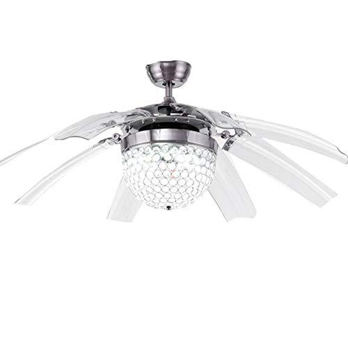 Ventilatore da soffitto plafoniera semi-integrato retro fan lampadario 5luci per ristorante, salotto, camera da letto (220V) Crystal Retractable