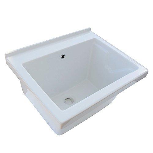 Elle emme Ci Lavatoio Ceramica 60x50 Tutta Vasca in Ceramica Bianca con tavola in Legno
