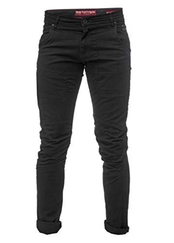 Rusty Neal Herren Cargo Hose Chino Schwarz Back Stretch Jeans Streetwear Flex Freizeit 133S, Hosengröße:34/32