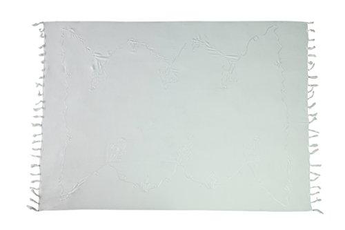 Premium Sarong Pareo Wickelrock Strandtuch Lunghi Dhoti Schlicht Blickdicht Tolle Stickerei Weiß + Schnalle