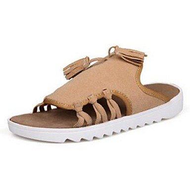 Slippers & amp da uomo;Estate Comfort similpelle casuali piani del tallone sandali nappa beige nero sandali US10 / EU43 / UK9 / CN44