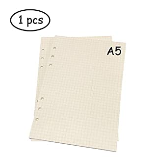 Lvcky A5 6-Ring Binder Planner Refill Paper File Paper Loose-Leaf Notebooks Paper (1 PCS 45 sheets/90pages) Standard Grids White Paper Style for Journals Notebooks Diaries Inserts