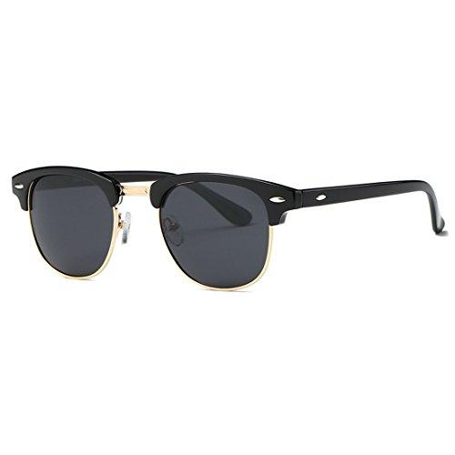 kimorn Polarisierte Sonnenbrille Unisex Retro Halb-Randlos Rahmen Klassisch Eyewear AE0550 (Schwarz&Gold, 52)
