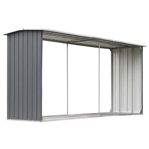 Festnight Metall Brennholzlager Kaminholzunterstand Holzlager aus Stahl 330 x 92 x 153 cm Grau
