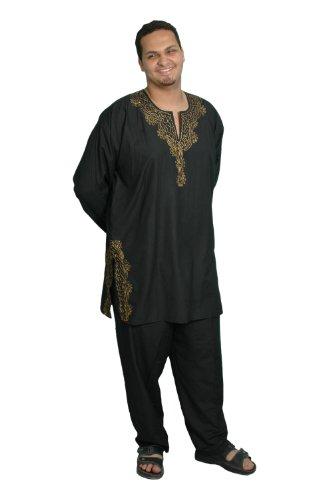 Egypt Bazar Dreiteiliges Herren-Salwar-Kameez- Set im Pakistani-Stil, Größe: 6XL, schwarz -