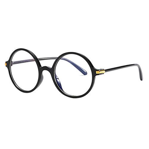 fazry Herren Damen Universal Rund Frame Blockierung Blaues Licht Flacher Spiegel Brillen(Schwarz)