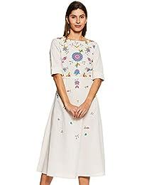 Amazon Brand - Myx Women's Floral A-Line Half Sleeve Cotton Dress