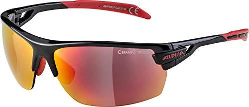 Alpina Sportbrille TRI-SCRAY, Schwarz/Rot, Einheitsgröße Wind Paket