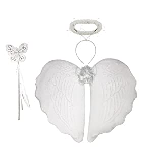 WHITE FAIRY WINGS, HALO AND WAND - ANGEL FANCY DRESS LADIES GIRL HEN NIGHT