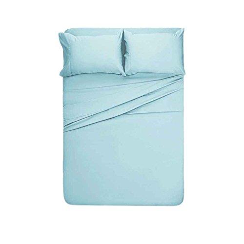 Masterein 4 Stück Bettlaken Set Solid Color Pillowcase Bettlaken Toal Bettdecke Kit Startseite Bettwäsche Hellblau 266*258cm (Multi-stück-bettwäsche)