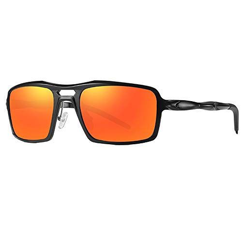 WULE-Sunglasses Unisex Herren Sportreitbrille Trend Fashion Black Frame UV400-Schutz Neue polarisierte Aluminium-Magnesium-Sonnenbrille (Farbe : Red)