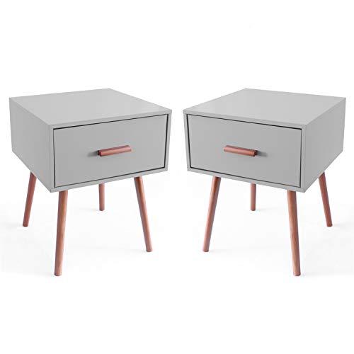 MaisonMaligne 2-er Set Nachttische Grau - 40 x 40 x 50 cm - Beistelltisch mit Schublade in skandinavischen Design - Akzentmöbel Couchtisch Ablagetisch Telefontisch - Schlafzimmer Möbel