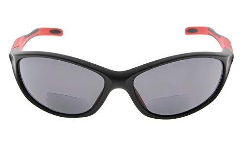Eyekepper TR90 Rahmen Bifokale Sport Sonnenbrille Baseball Laufen Angeln Fahren Golf Softball Wandern Sonne Leser (Schwarzer Rahmen Roter Tempel, 2.50)