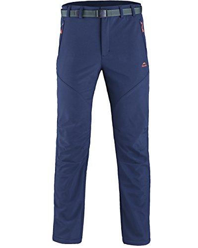 Homme Pantalon Softshell Ultra Thermique Étanche Hiver Automne Coupe-vent Résistant Respirant Sport Randonnée Camping Running Ski Garçon XL bleu