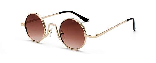 WDXDP Sonnenbrillen Retro Kleine Runde Sonnenbrille Frauen Schwarz Und Gold Metall Kreis Sonnenbrille Für Männer Vintage Uv400Gold Mit Braun