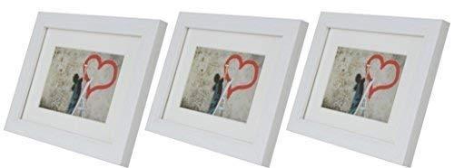 Set di 3 cornici portafoto 15 x 21 cm con passepartout 10 x 15cm, bianco