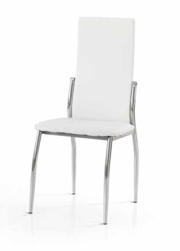 Bois & Design Set x 2 Chaise Moderne Acier chromé Bar Restaurant Cuisine recouverte Simili Cuir Blanc