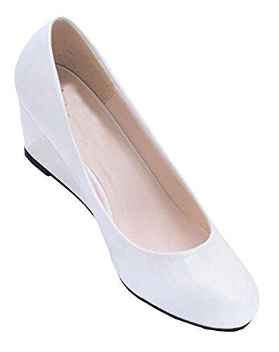 New 2015 Sommer-Frauen-Keil-Schuhe gezeigte Zehe-Glanzleder-Nude Arbeitsschuhe Casual Women Pumps Weiß