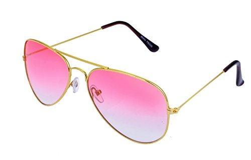 brille Fliegerbrille Pornobrille mit Federscharnier NICHT verspiegelt (Klar) PBG10 (Rosa Sonnenbrille)
