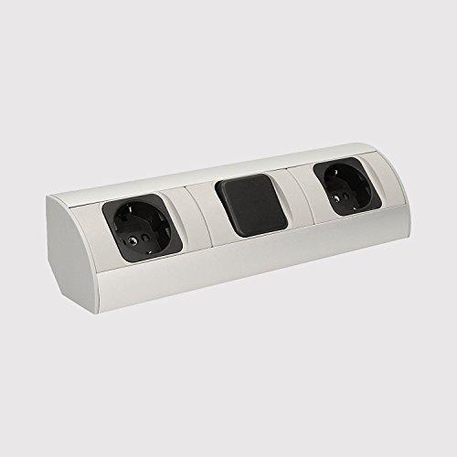 Praktische Eck-Steckdose 2x Schuko mit Schalter (Lichtquelle) für Küche, Bad, Wohnzimmer, Möbel. Doppelsteckdose ideal für Küchen-Arbeitsplatte als Aufbau-Unterbau-Steckdose. (2 Fach Steckdose mit Schalter)