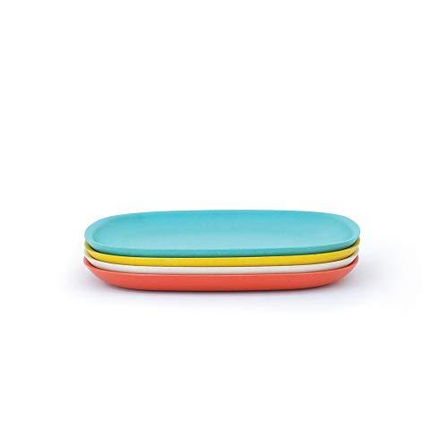BIOBU by EKOBO 34659 Gusto Lot d'assiettes Plates (modèle 2), Kaki/Blanc/Bleu Lagon/Jaune Citron