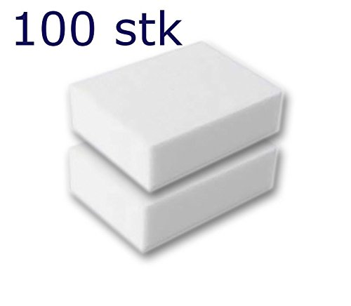 100 Stück Reinigungsschwamm, Radierschwamm, Schmutzradierer, Wunderschwamm je 10x7x3 cm WEISS