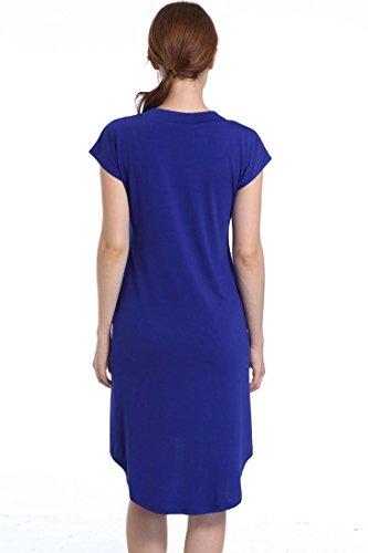 Donna Vestito, Reasoncool Vestito corto dal partito di sera delle donne solide del bicchierino del manicotto Blu