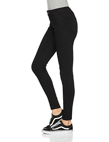 PIECES Damen Skinny Pcfive Soft Mw Skn Jeans Blk Tb/Noos Schwarz (Black Black)