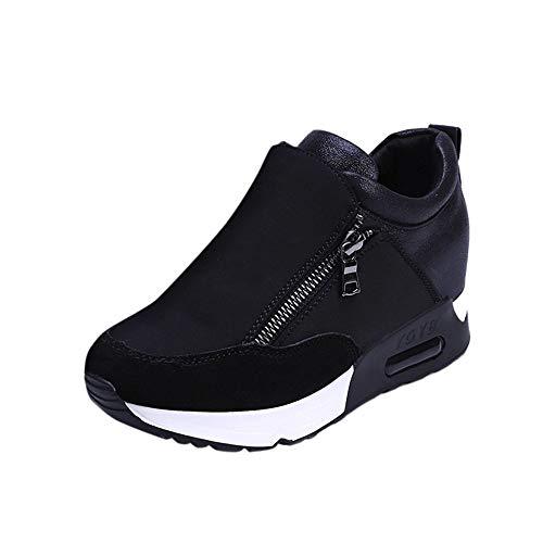 Caren Damen Sportschuhe Neue Atmungsaktive Laufschuhe Mit Seitlichem Reißverschluss Und Zunehmendem Trend Beim Joggen (Color : Schwarz, Size : 35 EU)