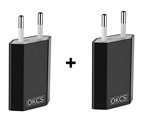 OKCS 5W 2X USB Netzteil Netzstecker Adapter 5V / 1A für Smartphones/Tablets/eBook Reader/iPhone/Galaxy / P10 P20 / Xperia/etc. in Schwarz Usb Power Plug