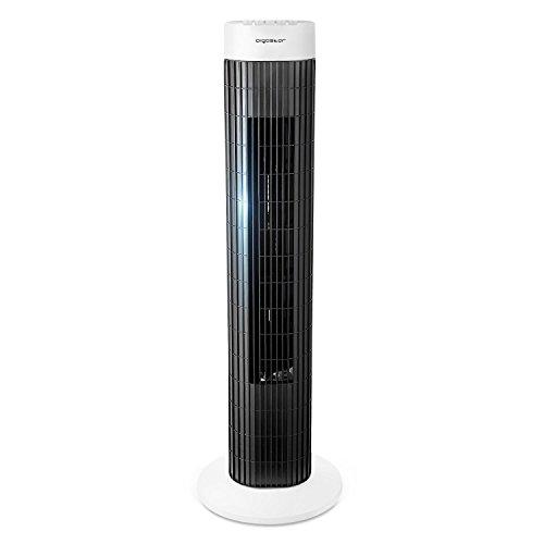 Aigostar Ben 33JTS - Ventilatore a torre digitale con timer. 3 modalità di velocità e motore da 45W. Oscillazione a 85°. Altezza di 76cm e cavo da 1,8M. Color Bianco e Nero