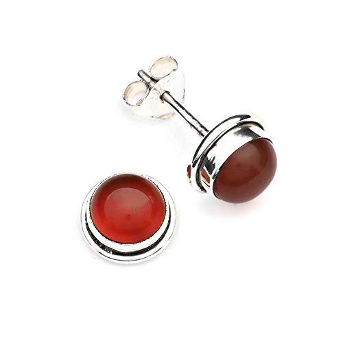 Ohrstecker Ohrringe Silber 925 Sterlingsilber Karneol orange rot Stein 8 mm x 8 mm (MOS 48) (Orange Braut-schmuck-set)