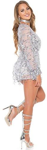 extravagant und chic ! Playsuit mit Paillettenfäden * Gr. 34 - 42 * Overall Jumpsuit Pailletten Party Clubwear Grau