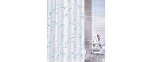 BILLY BIRDIE Duschvorhang Textil 180 x 200 cm blau/weiß Möwen waschbar