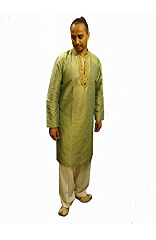 Pitachio Raw silk Indian Men Sherwani kurta Men's Bollywood wedding shalwar salwar kameez suit 621