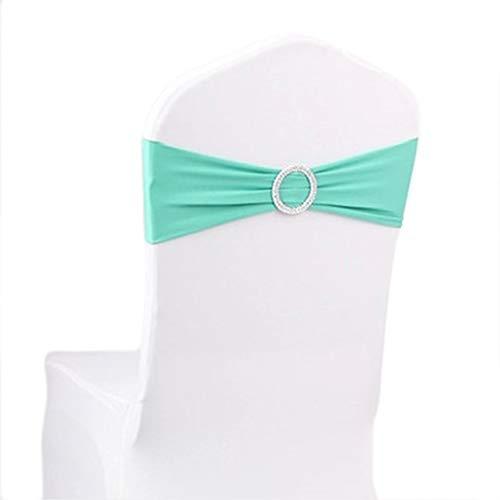 Demarkt Elastische Stuhlabdeckung Bowknotblume Stuhl Band No-Tie-Stuhl-Bogen-Schärpe-Stuhlabdeckung Stuhl zurück Dekor Party Veranstaltungen Liefert Size 15 * 30cm (Tiffany-Blau)