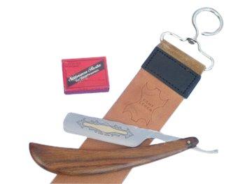 Rasiermesser mit Holzgriff und Goldätzung im Set mit 2 Schleifpasten und Streichriemen